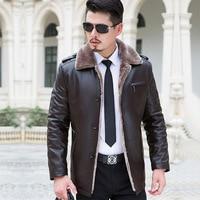 Модные овчины меховой воротник зима шерсти мужская кожаная куртка Плюс Толстая Вельветовая куртка пальто высокого качества Пуховики разме