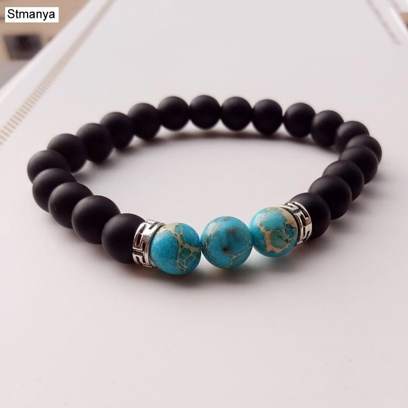 New 7 Chakra Bracelet Men Head Bracelet Black Lava Stone Beaded Bracelets For Men Women Pulseras Hombre 18128