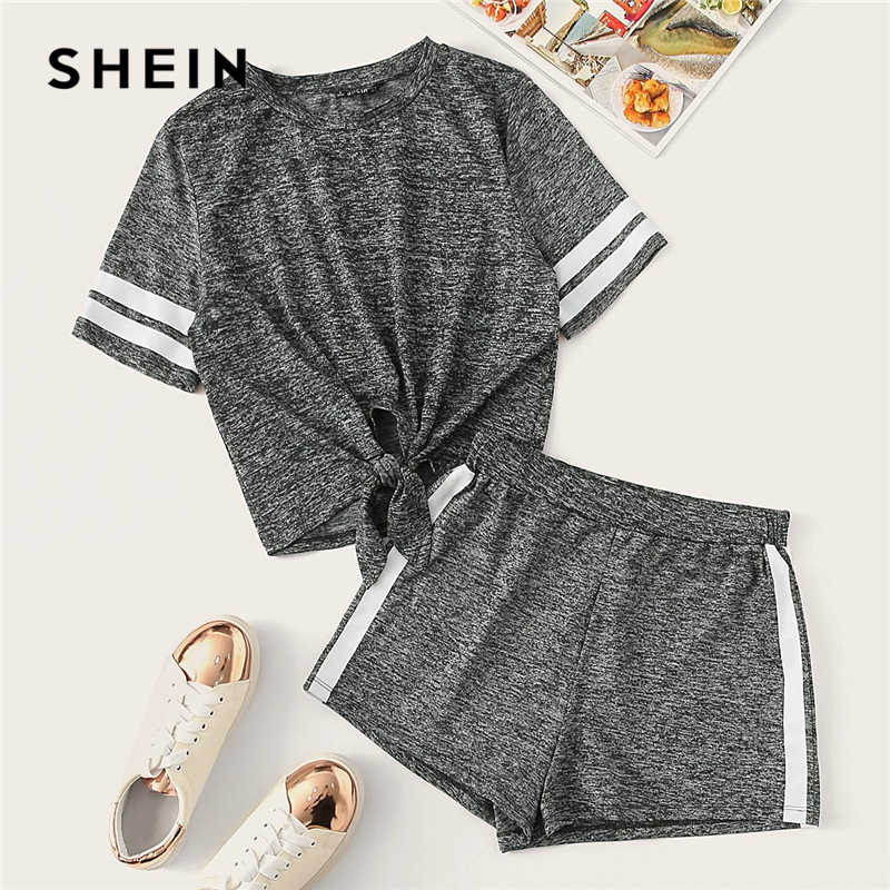 9e5db2a90816 SHEIN Grey Knot Front Marled Side Striped Tshirt Top And Shorts Set Women  2019 Summer Short