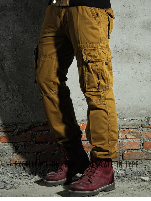 5 Colors Classic Cargo Military Pants Men Multi Pockets Durable Loose Thick Winter Pants Man Big Size 30-38 Khaki Army,3225#