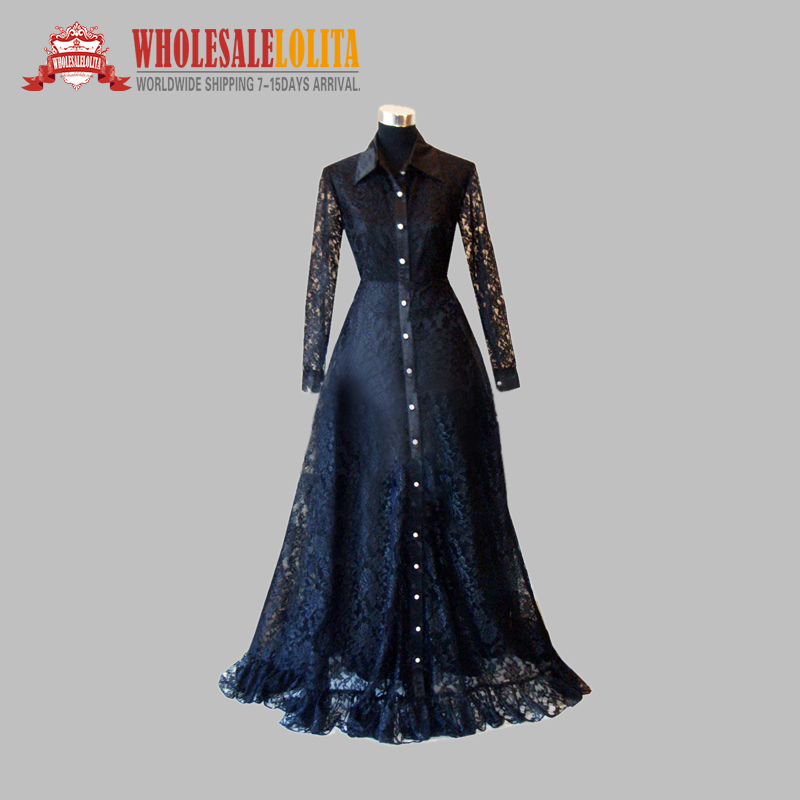 Gothic Black Lace Long Sleeves Victorian Era Dress Cosplay Dress ...