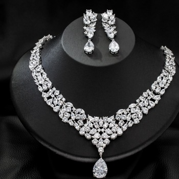 SEP New Full CZ Cubic Zirconia Wedding Bridal Necklace Earrings Set for Women Girl Jewelry CN10087