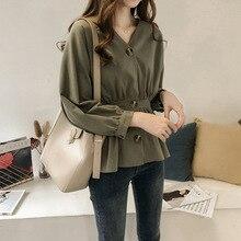 Women New Style Korean-Style Elegant Waist Thin V-neck Shirt Female Long Sleeve Top