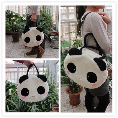 Super sweet 1pc 36cm cartoon plush cute happy panda middle handbags school shoulder bag children funny toy gift for girl