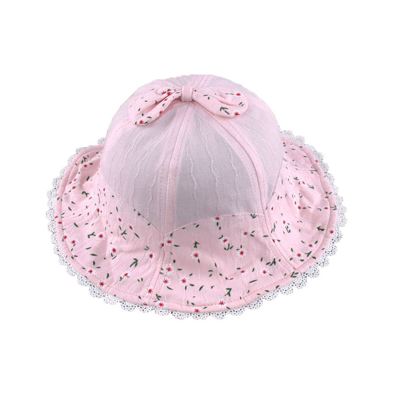 2018 Spring Baby Girls Dome Bucket Hats Daisy Printed Lace Brim Fisherman Caps Child Kids Sun Protective Hat MZ5659