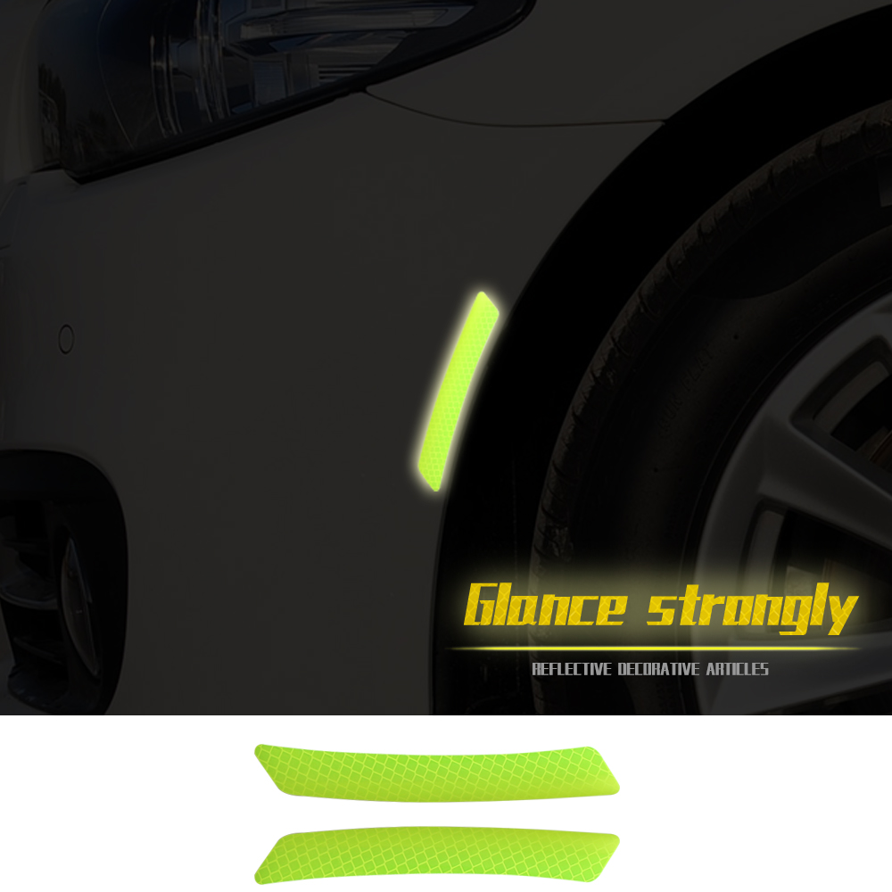 Car Styling Reflective Warning Strip Truck Night Driving Safety Secure Wheel Eyebrow Decor Luminous Stickers for VW Audi BMW