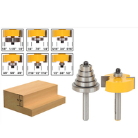 1pcs Solid Hardened Steel Body Rabbet Router Bit With Adjustable 6 Bearings Set 1 2 Inch