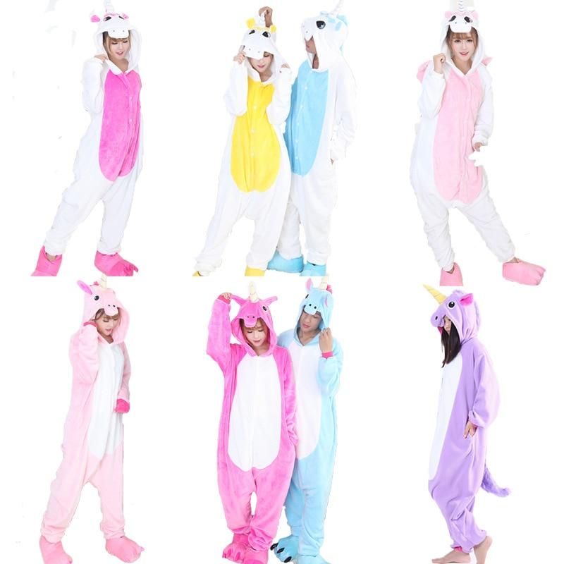 Androktones 2017 Adult New Unicorn Onesie Pajamas Costumes Animal Outfit Unisex Cosplay Costume Pajamas Sleepwear For Men Women