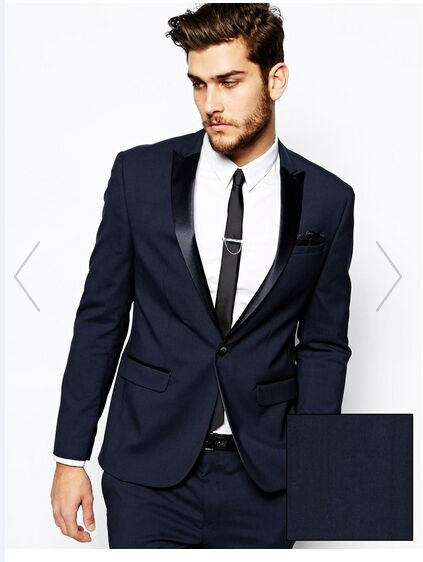 Custom Made Azul Marino Traje de Los Hombres, Traje Hecho a medida, Hombres a medida Traje de Boda, Slim Fit Smokinges Del Novio De Los Hombres (Jacket + Pants)
