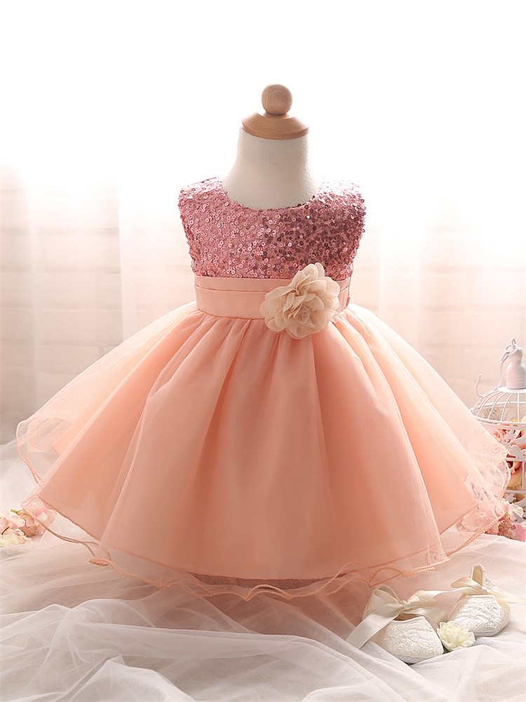 Baby Girl Baptism Dress Tutu Puffy Pink Toddler Girl ...