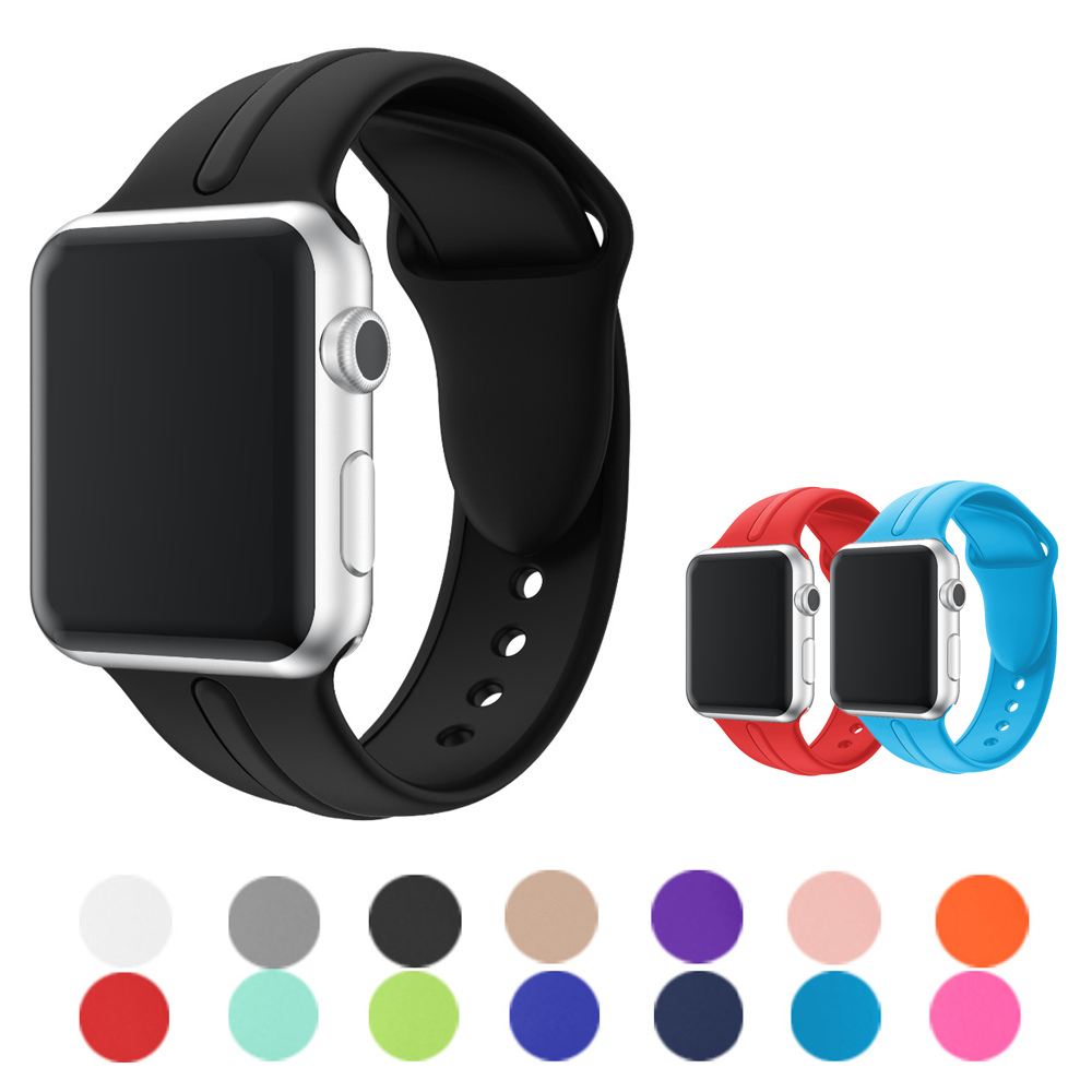 Silicone strap for apple watch band 42mm/38mm iwatch 3/2/1 band sport bracelet watchband rubber belt for apple watch Accessories jansin 22mm watchband for garmin fenix 5 easy fit silicone replacement band sports silicone wristband for forerunner 935 gps