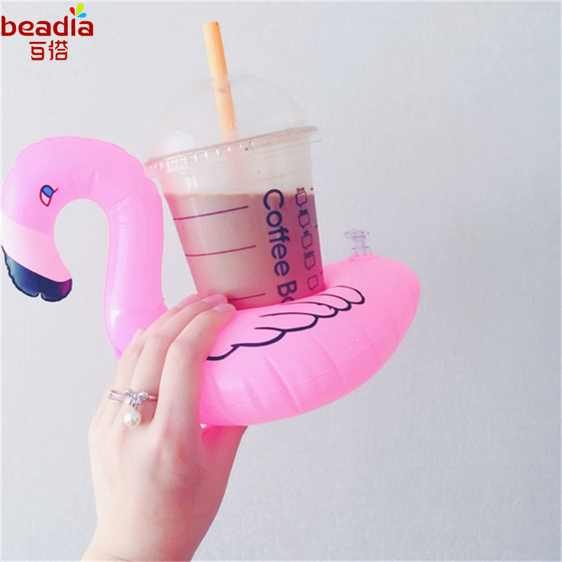 20x17cm Inflatable Flamingo Drink Can Cell Phone Holder Stand Coasters Float Pool Toy for Kids Fun Swimming Floatation Device