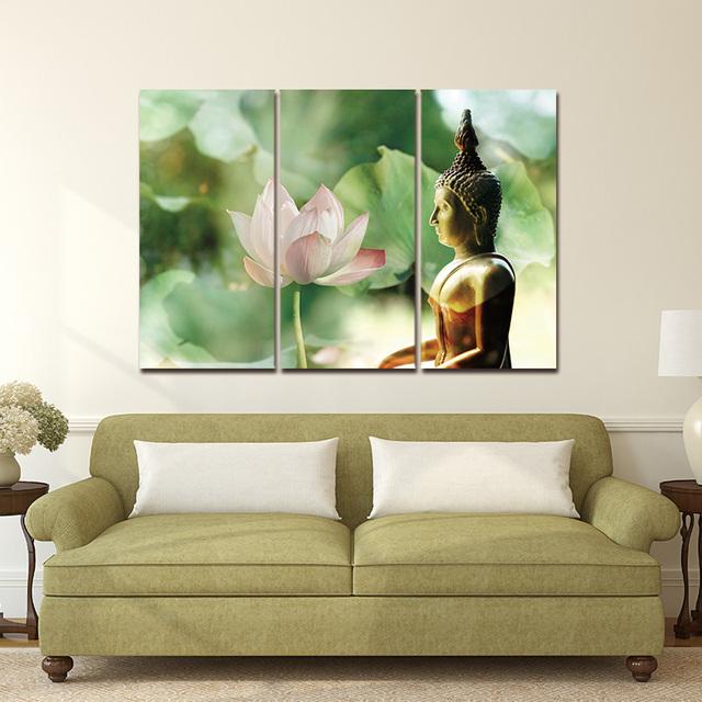 Wall Art Canvas Painting Pictures Modern Print On Meditation Buddha Statue  Beautiful Lotus Modular Zen Canvas