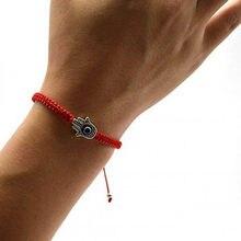 93f38f39bbcb Hecho a mano trenzado cuerda pulseras hilo rojo Ojo Azul pulseras del  encanto que suerte pacífica pulseras longitud ajustable