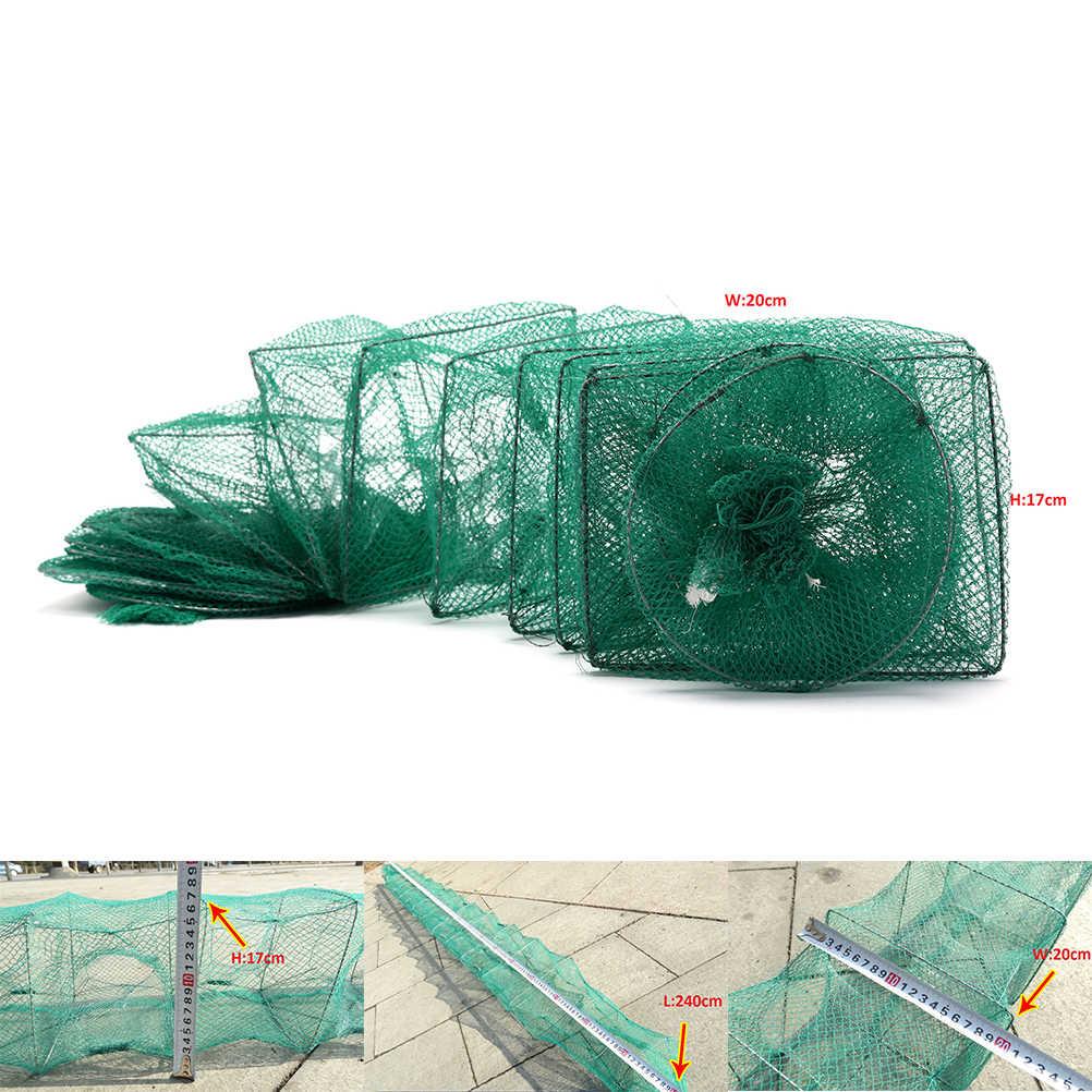 ปูกั้งกุ้งก้ามกรามจับสดดักปลาสุทธิพับแบบพกพาตกปลาสุทธิปลาไหลกุ้งล่อตาข่าย2.4เมตร