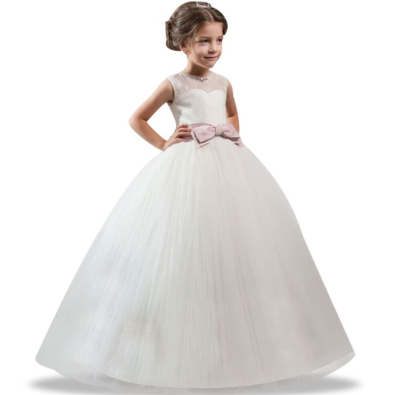 Lace 4-14yr Girl Dresses New Year Clothes Girls Birthday Wedding Party Pageant Sleeveless Long Princess Dress Christmas Costume new christmas flower girls dress lace embroidery trumpet wedding pageant birthday summer princess party dresses clothes 3 12yrs