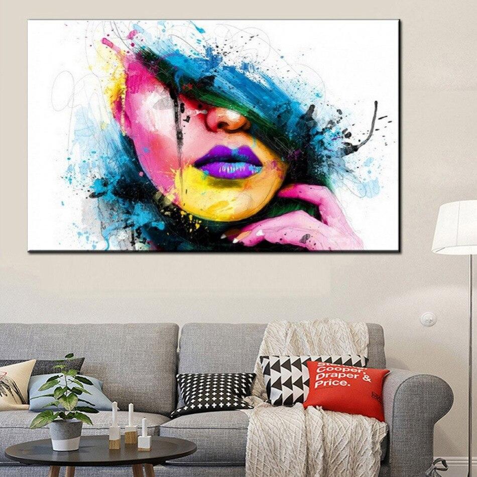 Mode 60x80 cm große wandkunst leinwand malerei moderne sexy frauen gesicht bild abstrakte zahlen ölgemälde für