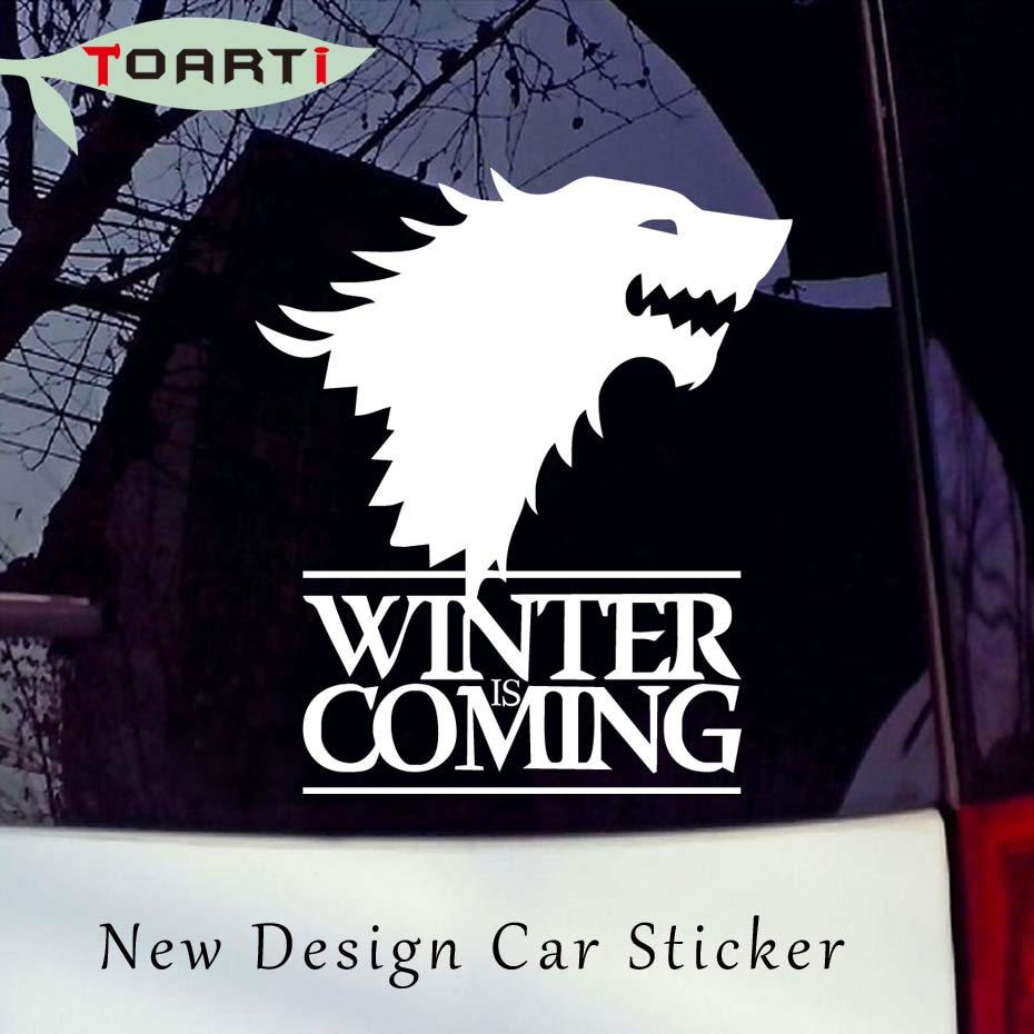 14*16CM Winter Is Coming Wolf Game of Thrones Car Sticker Decorative Head Of Wolf Vinyl Window Waterproof Auto Decals Styling