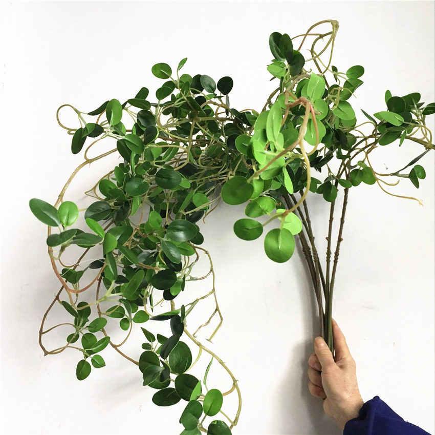 יוקרה ארוך פיקוס עץ טוויג פרחים מלאכותיים אקליפטוס פלסטיק מזויף צמחים ירוק עלים חתונה קישוט פו עלווה גפן