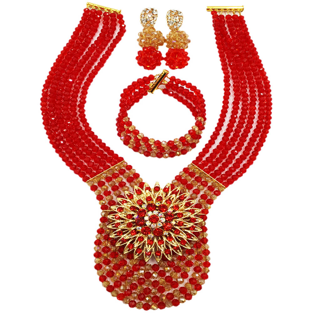 Fashion Red Champagne Gold AB Crystal Beads African Necklace Jewelry Set Nigerian Wedding Party Jewelry Sets 6WDK07Fashion Red Champagne Gold AB Crystal Beads African Necklace Jewelry Set Nigerian Wedding Party Jewelry Sets 6WDK07