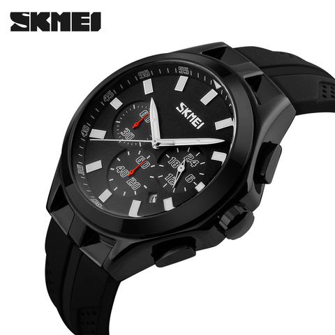 SKMEI Mens Watches Top Brand Luxury Male Quartz Watch Fashion Chronograph Sport Watch Silicone Strap Clock Men Relogio Masculino Lahore