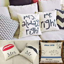 1pc Mr right& Mrs always right Decor Pillow Case Waist Pillow Back Cushion Cover(China)