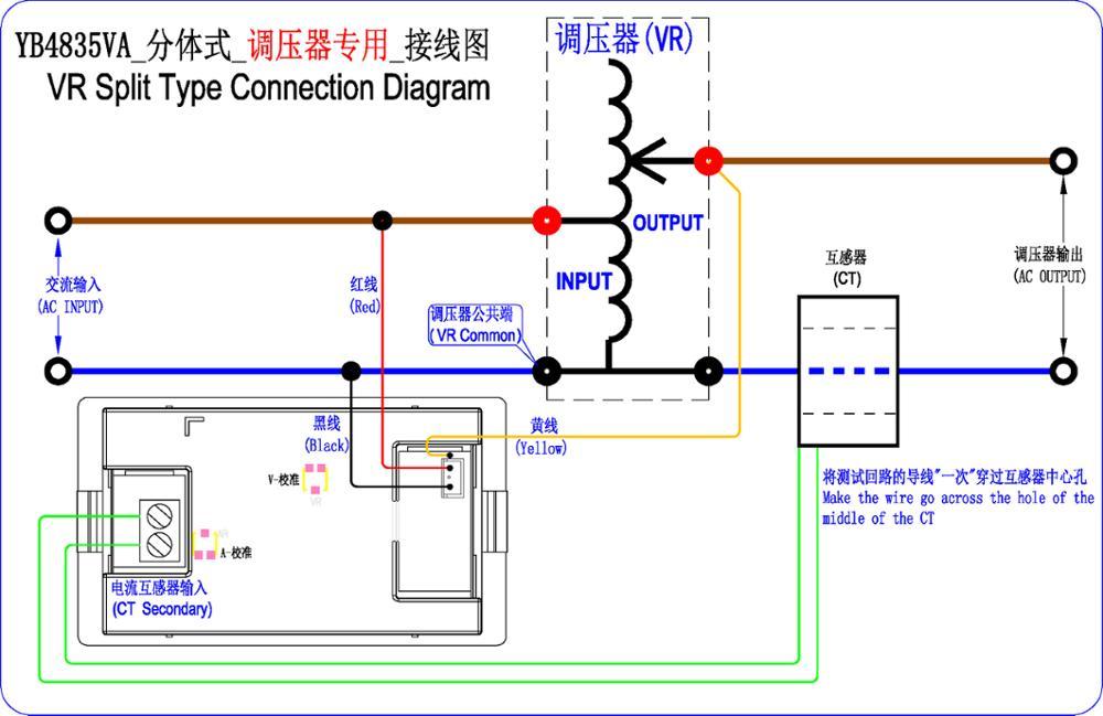YB4835VA AC 0-500V LED Digital Voltmeter Current Meter Ammeter AC 10A 50A  100A Voltage Meter Amperemeter for Single Phase Variac