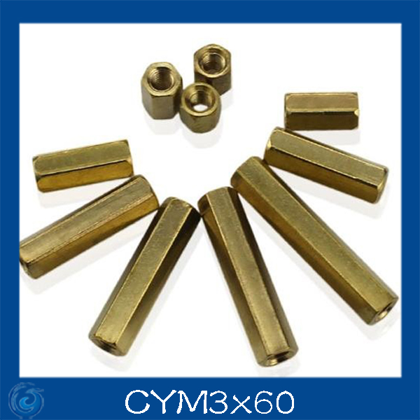 Free shipping M3x60 Double pass flat copper/hollow pillars/six pillars M3 angle copper stud isolation column
