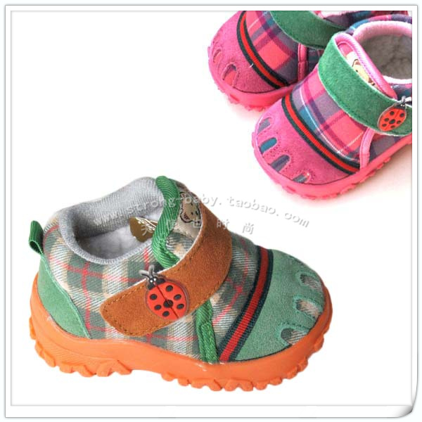 Winter fashion plaid soft outsole toddler shoes male female child large cotton thermal baby shoes snow boots