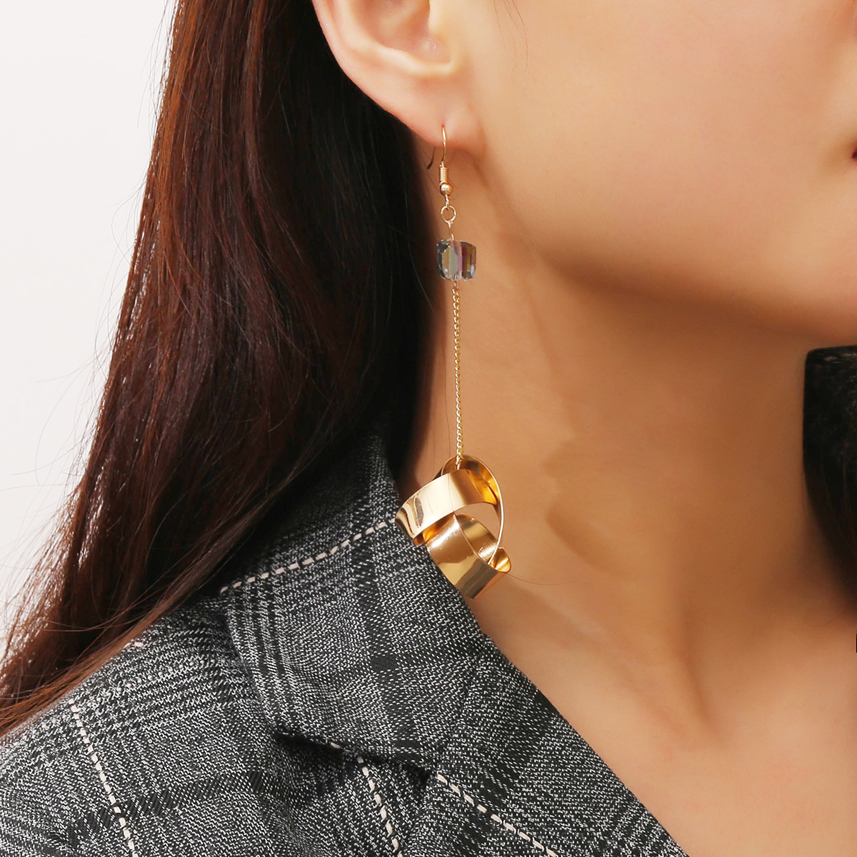 Personality Punk Gothic Fantastic Ear Ornaments  Female irregular metal water drill Earrings