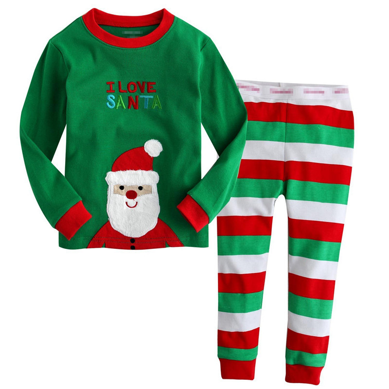 2017 New Christmas Santa Claus Childrens Set Long Sleeves Long Pants Cartoon Fashion Kids Set Home Clothing Toddlers Pajamas