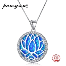 PANSYSEN Exquisite 23MM Round Blue White Fire Opal Pendant Necklaces Genunie 925 Sterling Silver Engagement Jewelry Necklace