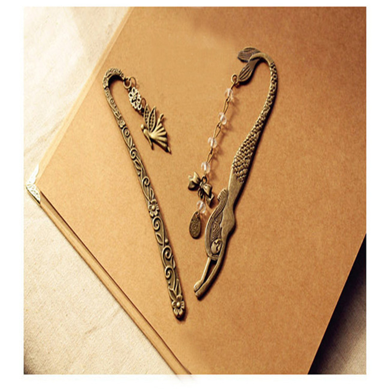 1 Pc Cute Retro Alloy Metal Bookmark Mermaid Beaded Pendant Or Angels  Genius Butterfly Fashion Vintage Bookmark Book Clip