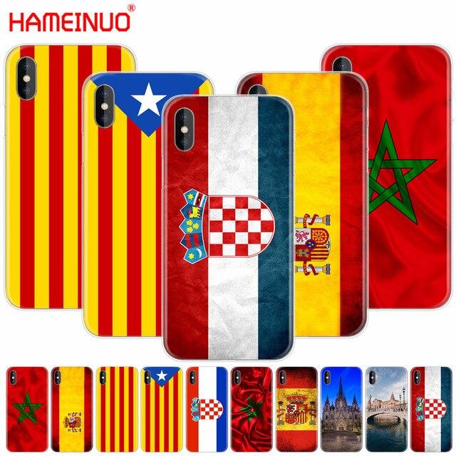 HAMEINUO các Tây Ban Nha Morocco Croatia sáng cờ điện thoại di động Bìa trường hợp đối với iphone X 8 7 6 4 4 s 5 5 s SE 5c 6 s cộng với