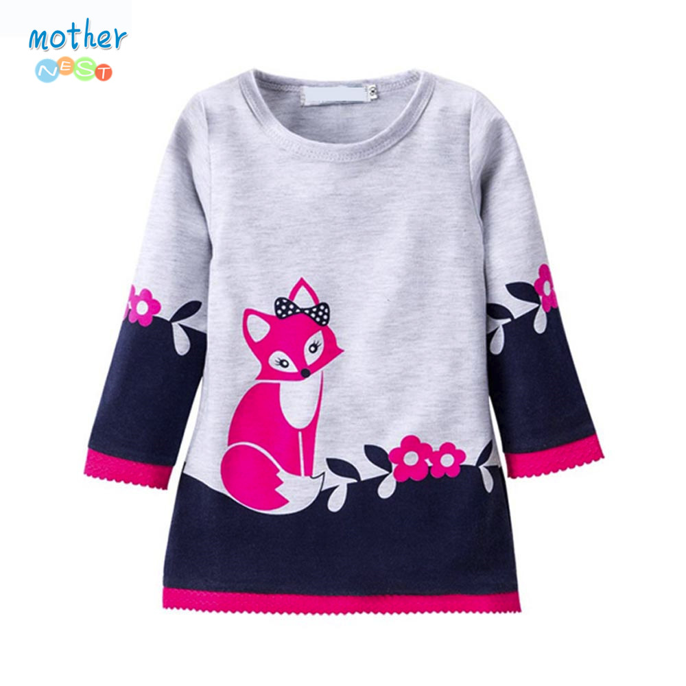 Mother nest Girls Dress Summer 2017 Long Sleeve Fox Print Toddler Girl Dresses Children Clothing Baby Girl Clothes 1-7Y 3940