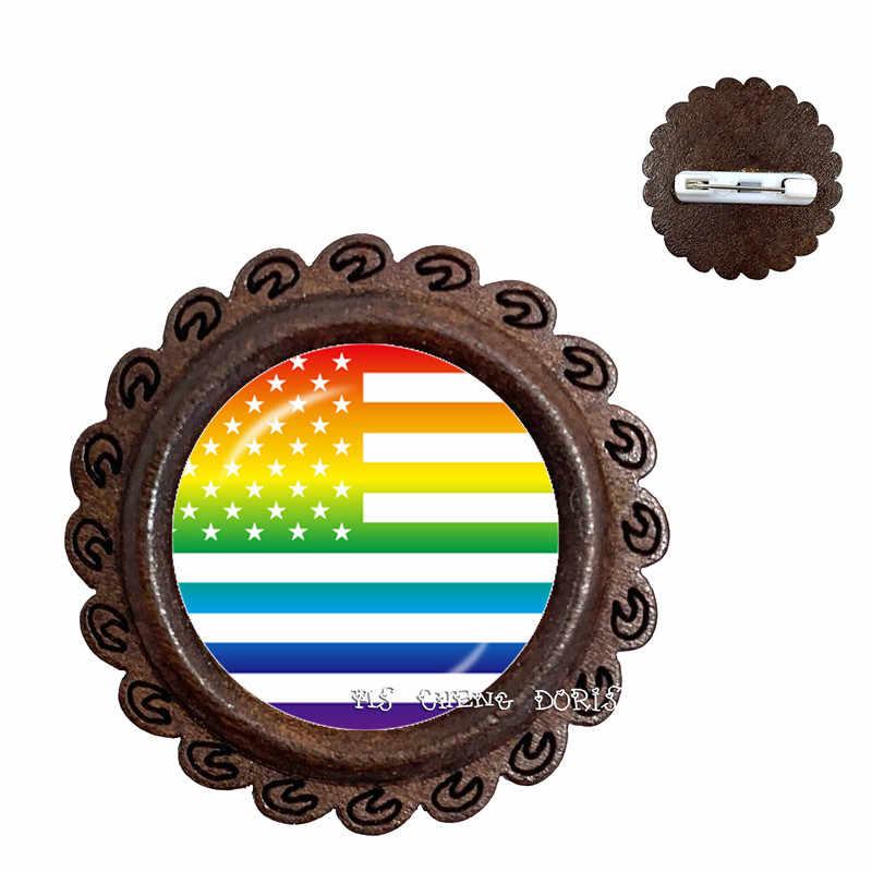 LGBT Kubah Kaca Kayu Bros untuk Wanita Pria Gay Lesbian Kebanggaan dengan Rainbow Cinta Dapat Hadiah Yang Sama Sex Cinta Kerah pin Hadiah