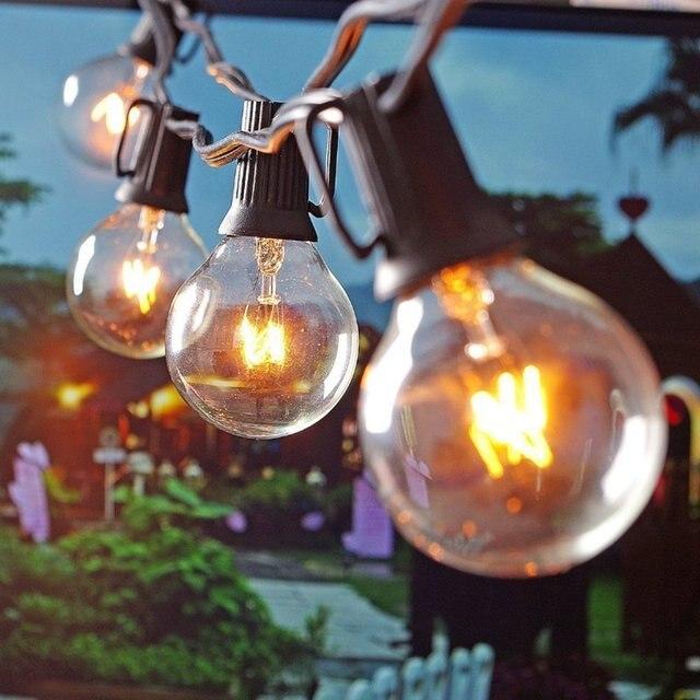 25Ft G40 bombilla luces de cadena con 25 bola clara Vintage bombillas de interior/colgante al aire libre paraguas de Patio de iluminación la UE/