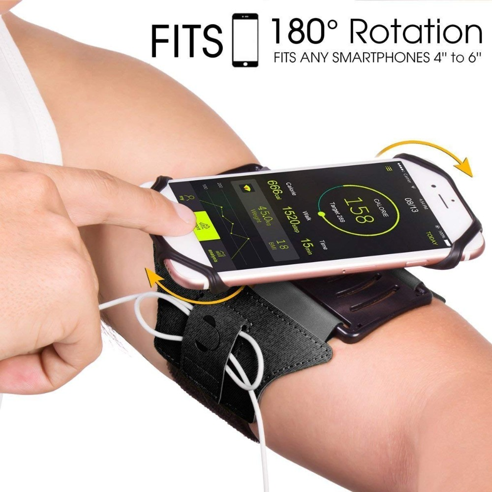 Armband Phone Holder 180 Degree Rotatable with Earbud Holder Sweatproof Arm Bag for XIAOMI iphone 6 7 8 X 4 to 6 Inch SmartphoneArmband Phone Holder 180 Degree Rotatable with Earbud Holder Sweatproof Arm Bag for XIAOMI iphone 6 7 8 X 4 to 6 Inch Smartphone