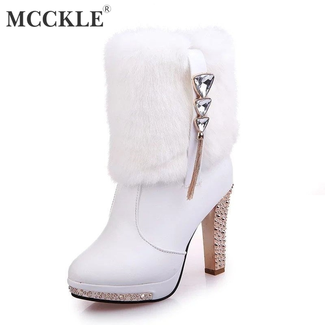 44f7eac9b MCCKLE Women Ankle Boots Warm Faux Fur High Heel Shoes Crystal Short Boot  Elegant Winter Shoe For Female Casual Footwear