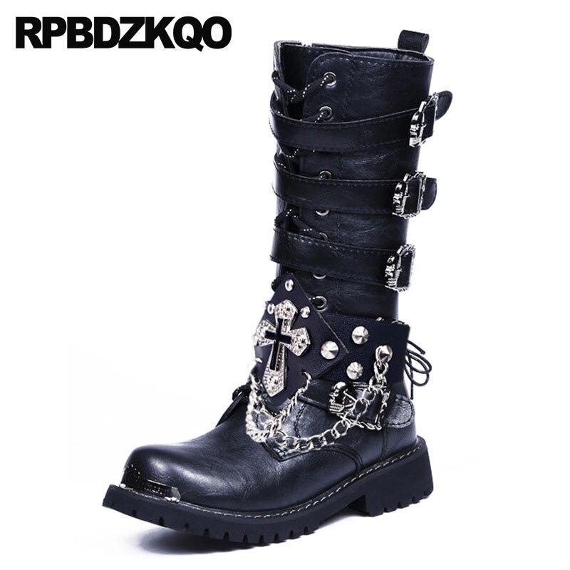 Combat moto crâne stud chunky hommes en cuir bottes hautes de luxe rivet chaussures rock métallique punk haute qualité noir militaire