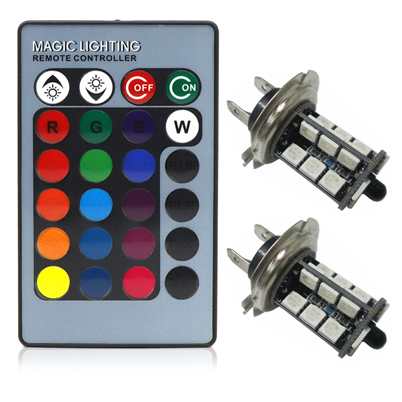 2pcs RGB LED Auto Car Headlight H7 5050 LED 27 SMD multi-color RGB Fog Light Head Lamp Bulb With Remote Control Car Styling 12V h7 car led headlight bulb 100w 20000lm cob chip led auto headlight canbus headlamp automobile led head fog light 12v 24v 6000k