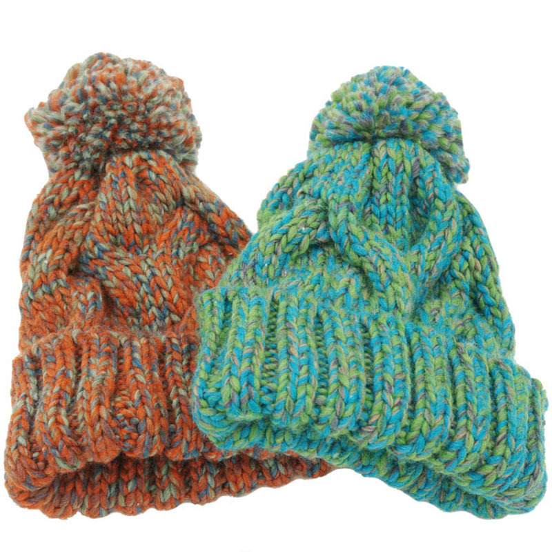 Winter Beanies For Women Knitted Acrylic Hats Mix Colors Skullies And Beanies Knit Big Pompom Caps Free Shipping Female Beanie контроллер pci e 2 com купить минск