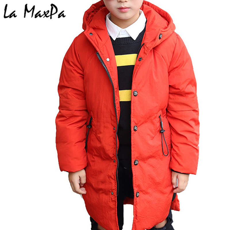 -30c Boys Winter Jacket Coat 2018 Fur Hooded Down Jackets for Kids Boy 6 8 10 12 14 Years Thicken Warmly Winter Children Clothes