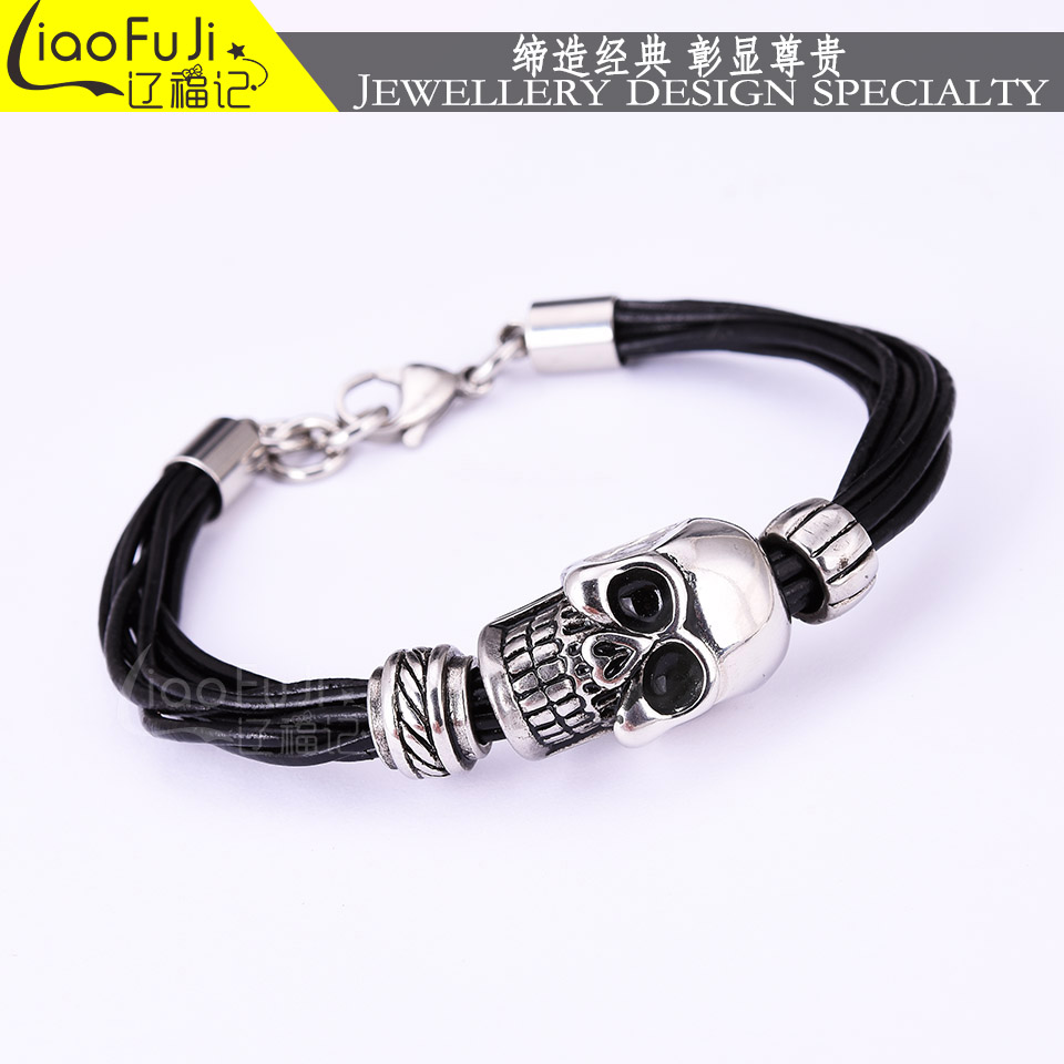 Fashion Men Bracelet Stainless Steel Skull Black Braided Rope Leather Chain Magnet Bracelets Punk Rock Style Bangle Jewelry