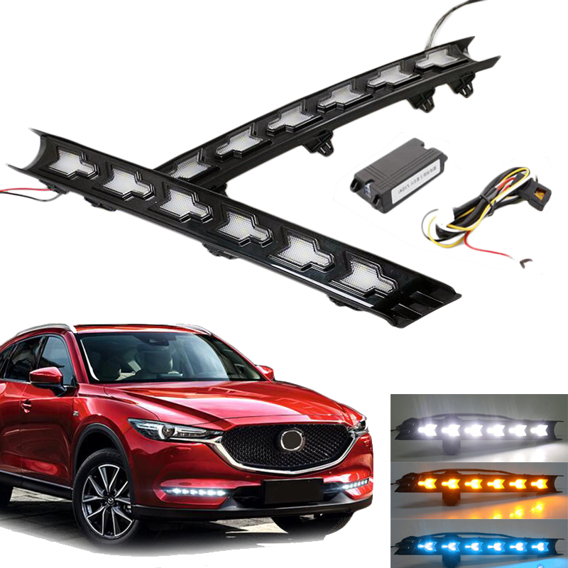 3 Colors Turn Signal Style Relay Waterproof 12V LED CAR DRL Daytime Running Lights Fog Lamp For Mazda CX-5 CX5 CX 5 2017 for honda civic 2016 2017 2018 turn signal relay car styling waterproof 12v led car drl daytime running lights fog lamp cover