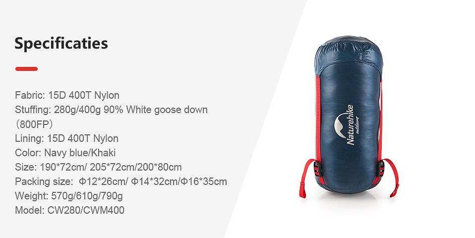 Naturehike White Goose Down Sleeping Bag