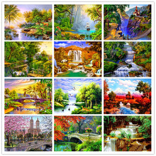 Complete Diamond Painting 5D DIY Embroidered Landscape Series Patterns Cross Stitch Round Mosaic