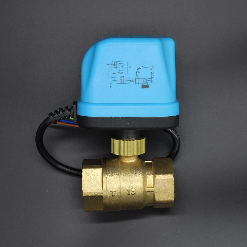 AC220V DN15-DN50 Electric Ball Valve Brass Motorized Ball Valve electric Three line two way control valves