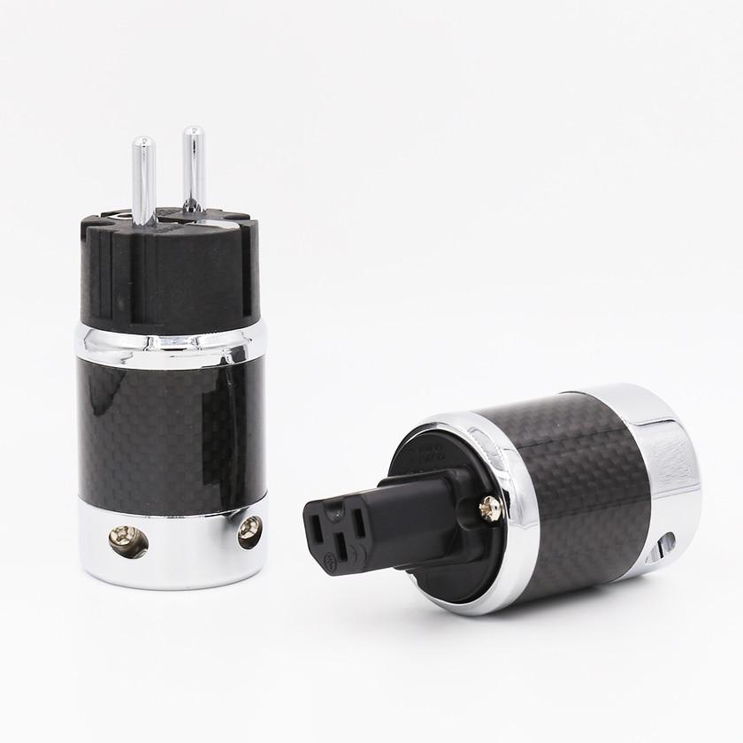1pair X High Quality Hi End EU Schuko Rhodium Plated Carbon Fiber AC Power Plug Connector