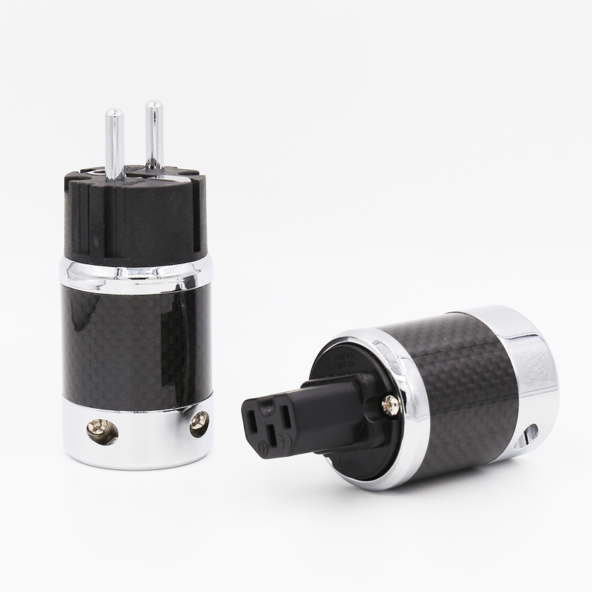 цена на 1pair X High Quality Hi-End EU Schuko Rhodium Plated Carbon Fiber AC Power Plug Connector extension adapter
